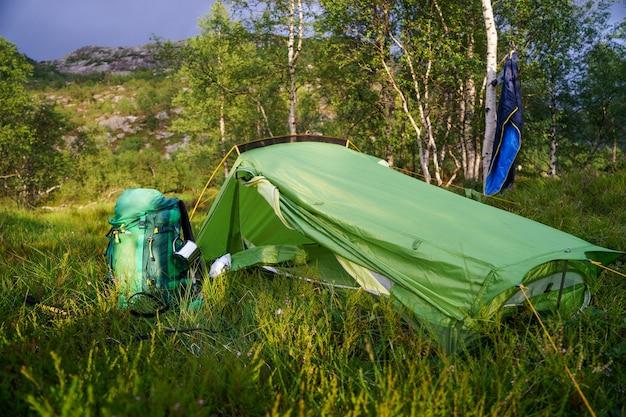 Палатка стоит на поляне с деревьями.