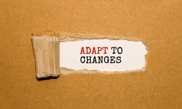 Текст «адаптация к изменениям» появляется за рваной оберточной бумагой.