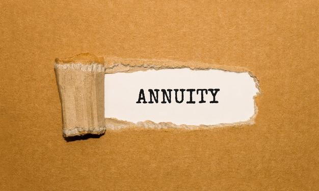 Текст annuity появляется за рваной оберточной бумагой.