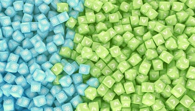 다른 계절을 나타내는 아이콘이 다른 색상의 흩어져 큐브의 질감. 3d 일러스트