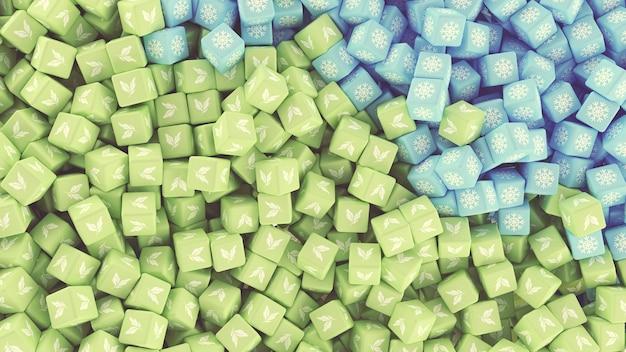 さまざまな季節を表すアイコンが付いたさまざまな色の散在する立方体のテクスチャ