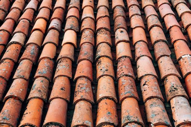 건물 지붕에 있는 오래된 갈색 지붕널의 질감