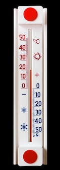 黒の孤立した背景の温度計は、20度の熱を示しています_