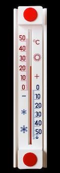 黒の隔離された背景の温度計は、25度の熱の温度を示しています_