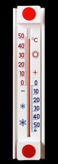 黒の孤立した背景の温度計は、プラス50度の熱を示しています_