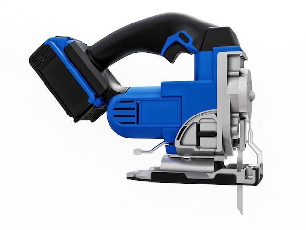 이 도구는 흰색 격리된 배경에 있는 파란색 전기 퍼즐입니다. 3d 렌더링.