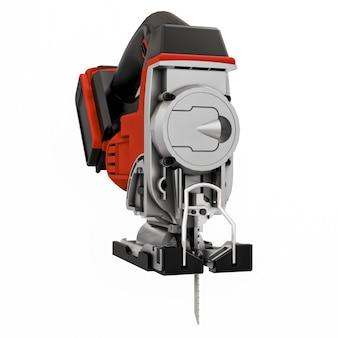 Инструмент представляет собой красный электрический лобзик на белом изолированном фоне. 3d-рендеринг.