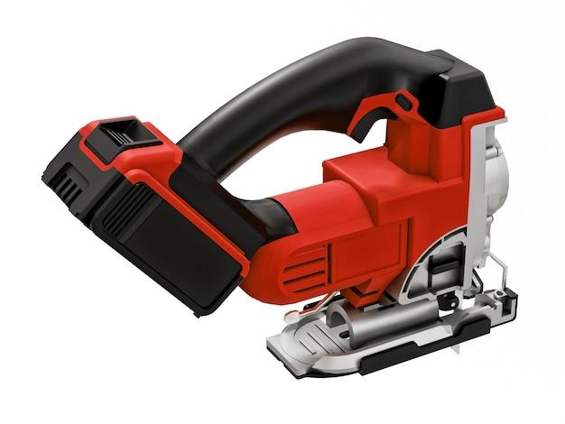 Инструмент представляет собой красный электрический лобзик на белой изолированной поверхности.