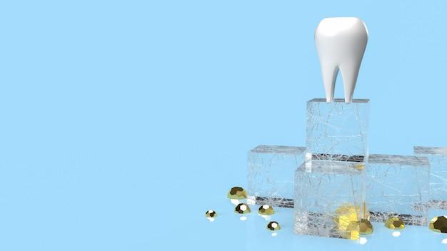 치과 또는 의료 개념 3d 렌더링을 위한 파란색 배경의 치아 흰색