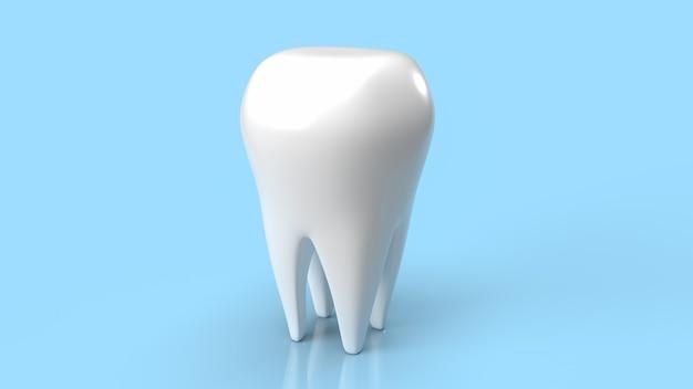 Зуб белый на синем фоне для стоматологической или медицинской концепции 3d-рендеринга