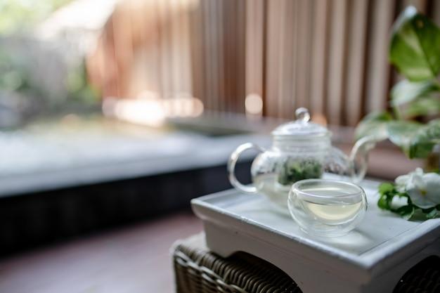 Поднос прозрачного чайника с травяным чаем.