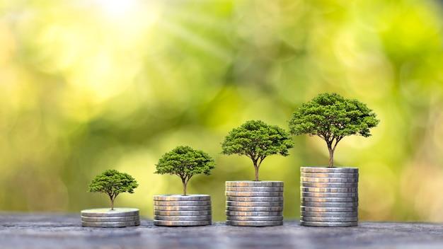 Дерево растет на куче монет, деревянных полах и размытом зеленом фоне природы. концепция финансового роста.
