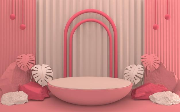 열대 추상 발렌타인 핑크 연단 최소한의 디자인 제품 장면.