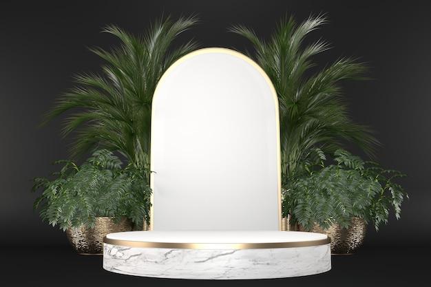 검은 배경 .3d 렌더링에 열대 화강암 연단 형상 및 식물 장식