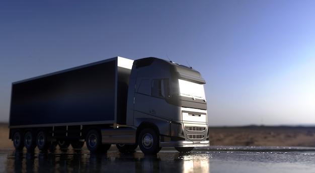 트럭은 고속도로에서 운행됩니다. 배달 개념