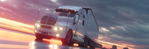 트럭은 속도로 고속도로를 달린다. 3d 그림