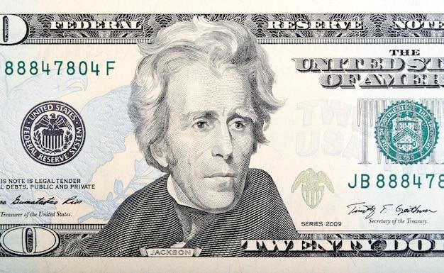 Макрофотография двадцатидолларового билла