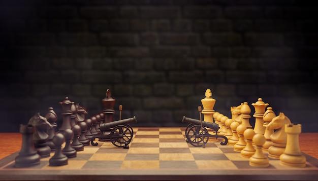Две шахматные фигуры идут на войну. они оба используют пушки в качестве оружия на шахматной доске на фоне кирпичной стены. концепция ведения деловой войны с использованием бизнес-стратегии. 3d иллюстрации.