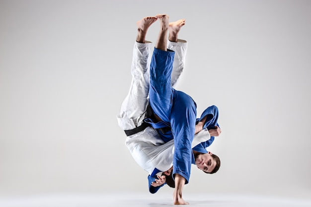 Два бойца дзюдоистов борются с мужчинами