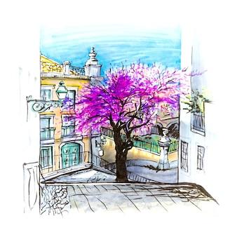 典型的なリスボン通り、ポルトガル