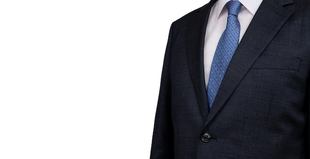 白のスーツの男性ビジネスマンの上半身