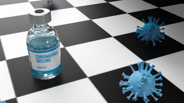 医療または科学の概念の3dレンダリングのためのチェス盤上のワクチンとウイルス