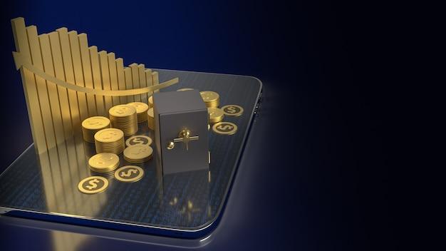 ビジネスコンセプトの3dレンダリングのためのタブレット上の金庫金庫と金貨