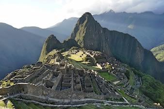 The view of Machupicchu, the ancient inca ruins.