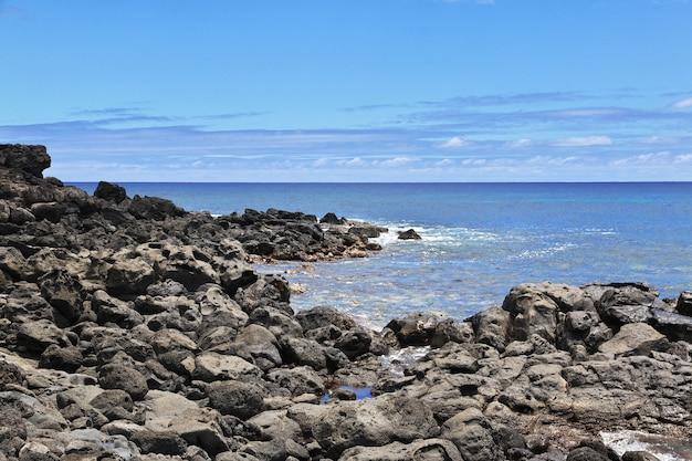 Вид на тихий океан на острове пасхи