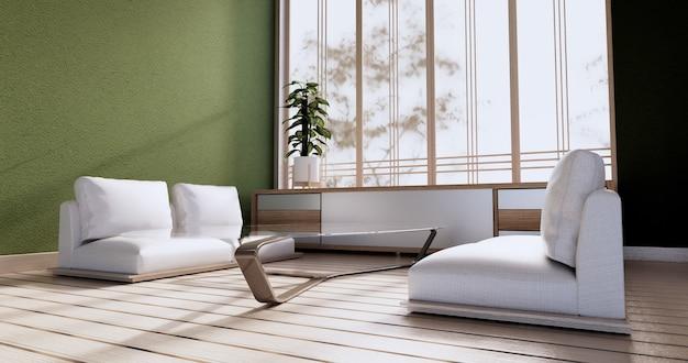 Винтажный дизайн шкафа, зеленая гостиная с креслом в японском стиле. 3d визуализация