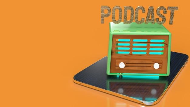 Винтажное радио на планшете для подкаста или медиа-концепции 3d-рендеринга