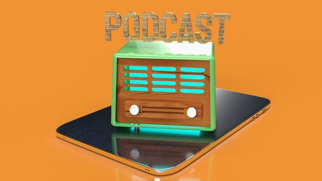 팟캐스트 또는 미디어 개념 3d 렌더링을 위한 태블릿의 빈티지 라디오