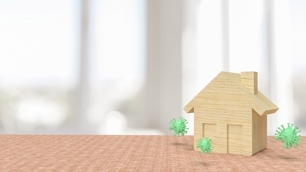 家からの滞在または家の隔離の概念3dレンダリングのためのウイルスと家の木材