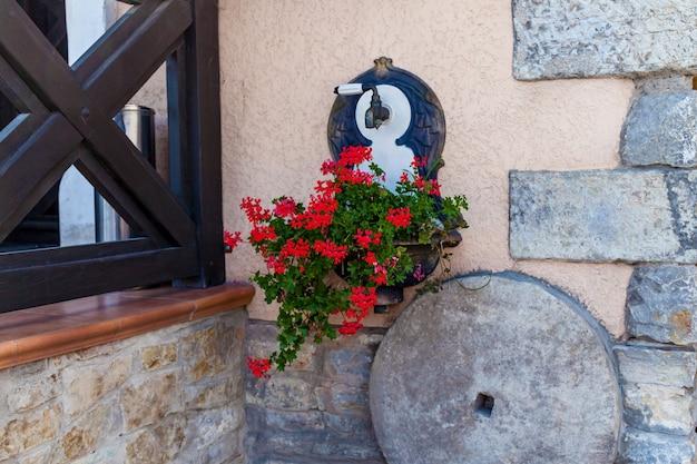 붉은 꽃이 매달린 화분이 있는 아파트 건물의 벽