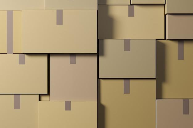 倉庫には段ボール箱が入っています。物流と配送のコンセプト。 3d レンダリング