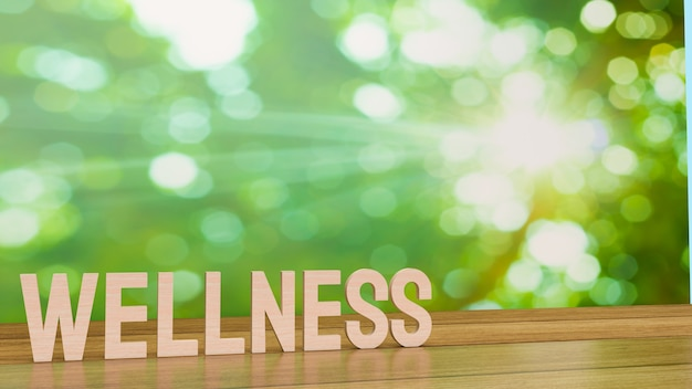 Слово велнес для концепции здоровья 3d-рендеринга