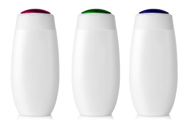 白で隔離の白い空白のプラスチックボトル