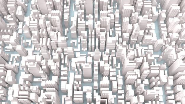 白い都市の建物の3dレンダリング