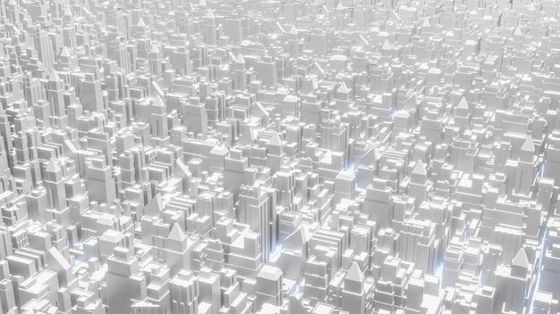 비즈니스 또는 건축 콘텐츠 3d 렌더링을위한 흰색 도시 상위 뷰 이미지