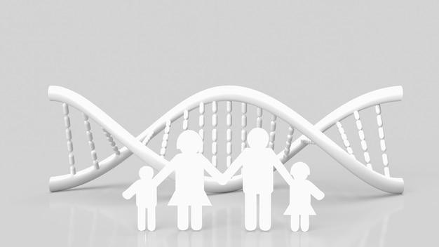 Белая днк и семейная бумага вырезаны на белом фоне для 3d-рендеринга науки или медицинской концепции