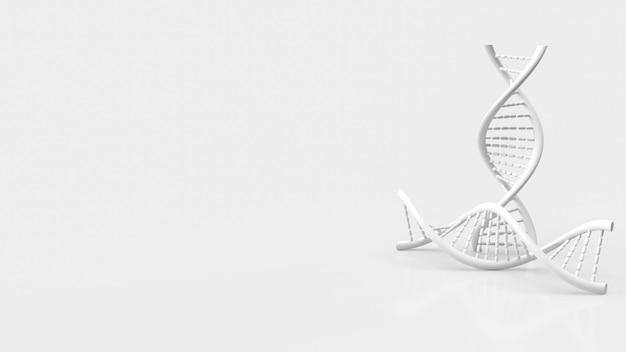 Белая днк на белом фоне для науки или медицинской концепции 3d-рендеринга