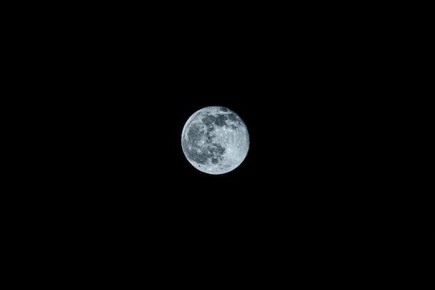 하얀 달은 어두운 하늘에 있습니다.