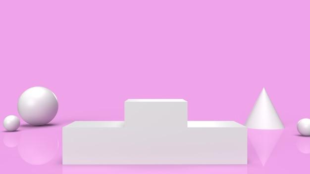 분홍색 배경 3d 렌더링에 흰색 연단 플랫폼.