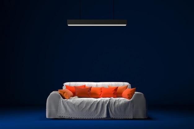 青いスタジオのオレンジ色の枕とネオンライト付きの白いソファ。レイアウトのワークスペース。 3dレンダリング。