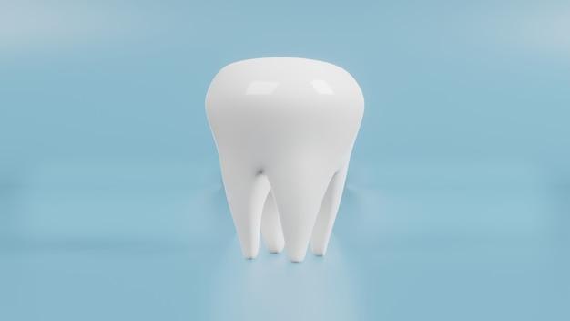 Белые зубы на синем для 3d-рендеринга медицинского и оздоровительного контента