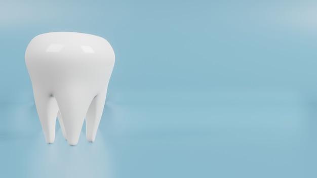 의료 및 건강 콘텐츠 3d 렌더링을위한 파란색의 하얀 치아