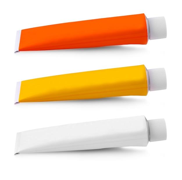 Шаблон макета белой трубки для косметического крема или геля, изолированные на белом