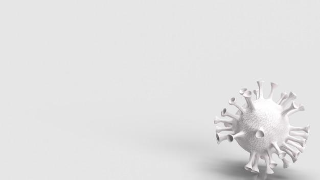 Белый вирус на белом фоне для 3d-рендеринга медицинской или научной концепции