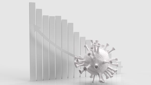 Белый вирус на белой диаграмме стрелкой вверх для 3d-рендеринга медицинской или научной концепции