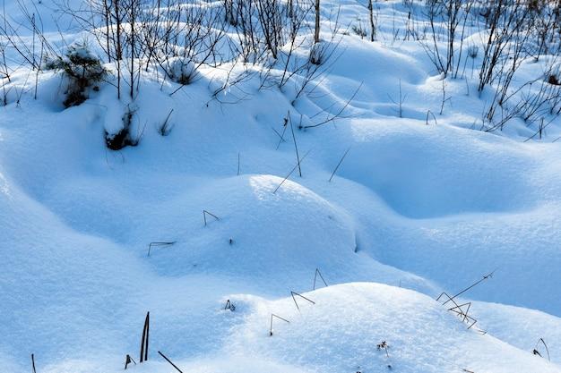 寒い気候と雪の形での降水量の多い冬の季節、降雪と吹雪の後の大きな雪の吹きだまり